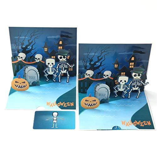 Halloween 3D Grußkarten, Halloween Grußkarte Geburtstag Neujahr Einladungskarte Papier Karten Handgemachte Handwerk Valentines Halloween Kürbis, Geist (C, L)