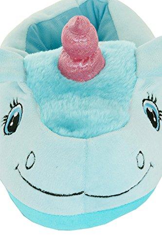 Unisex Tierhausschuhe aus Plüsch - Kinder & Erwachsene Bleu licorne