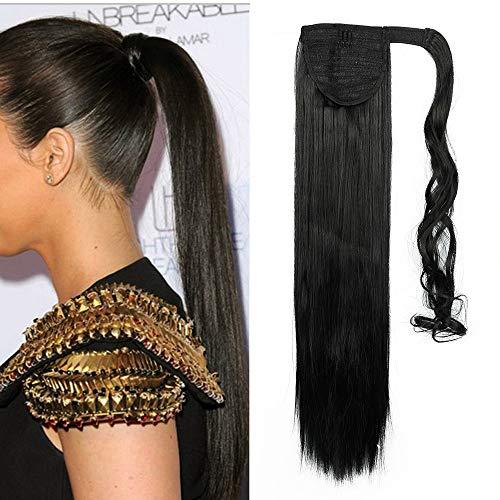 Pferdeschwanz Haarteil Clip in Zopf Extensions Synthetische Haare wie Echthaar Glatt Ponytail Haarverlängerung 26