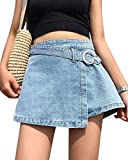 Damen Mini-Jeansrock Stretch Kurz Rock Short Denim Skater Skirt Hellblau M