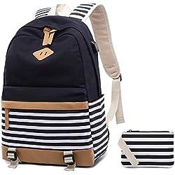 Netchain Mochila Escolares Mujer Mochila de Lona Casual Backpack Laptop Mochila para Ordenador Portátil 15.6 Pulgadas, USB Charging Port(Negro)