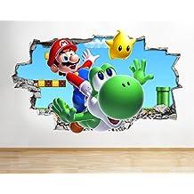 J38Super Mario Bros Yoshi Kart para pared Póster 3d arte pegatinas vinilo habitación, HUGE (100x175cm)