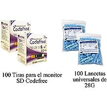Pack de 100 tiras para el monitor de glucosa SD Codefree + 100 lancetas
