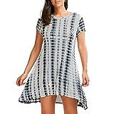UFACE 2018 Aktionen KurzäRmeliges Kleid Mit GefäRbter Krawatte Damen Kurzarm Camisole Mode Sexy Strand Minikleid (XL, Grün)