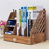 Deesjue Einfache Desktop-Aufbewahrungsbox Dateiinformationen Datenbücher Magazin Dokumente Organizer Case Holzschublade Bücherregal HH382300CS1