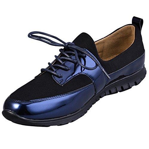 Hengfeng Décontracté confortable Flat Lace Up Chaussures en cuir pour les femmes et les filles 6069-82 DarkBlue