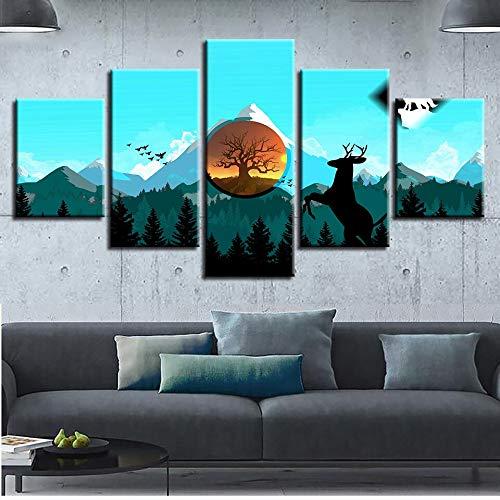 mmwin Modulare Bilder Wandkunst HD Drucke 5 Stücke Hirsch Leinwand Baum Hause Berg Dekoration Für Wohnzimmer Kunstwerk Poster