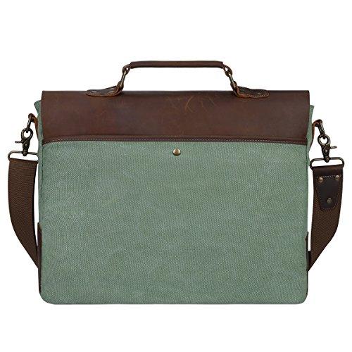 S-ZONE Canvas Genuine Leather Trim Viaggi computer portatile della cartella Messenger Bag Adatto da 17 pollici MacBook Pro o altro 15,6 pollici Laptop Corallo verde
