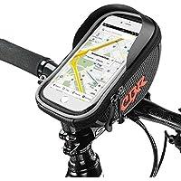 Montaje impermeable de bicicleta, bolsa de bicicleta, pantalla táctil, Mountain Road, paquete de bicicleta, bolsa doble, bolsa de teléfono, bolsas para teléfono inteligente universal con Android, Apple, Samsung, Google, Huawei, LG, Motorola - Negro