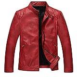Herren Fashionable Kunstlederjacke Stehkragen Pu Lederjacke Jacke Motorradjacke Jungejacke Classic Mantel und Herbst Jungs (Color : Rot, Size : S)