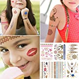 Tattoos Set, Temporäre Tattoos Kinder Gold Lecou 6 Blätter Aufkleber Sticker Wasserdicht Körperkunst Körper Gefälschte Schmuck Body Art für Mädchen Kindergeburtstag Spielen Über 90 Designs