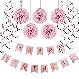 HAPPY BIRTHDAY Girlande Set Geburtstag Dekoration Seidenpapier Pompoms Rosa Folie Spirale Deko von SUNBEAUTY (Rosa)