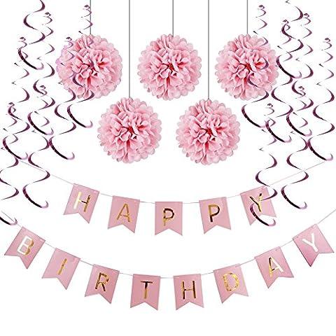 HAPPY BIRTHDAY Girlande Set Geburtstag Dekoration Seidenpapier Pompoms Rosa Folie