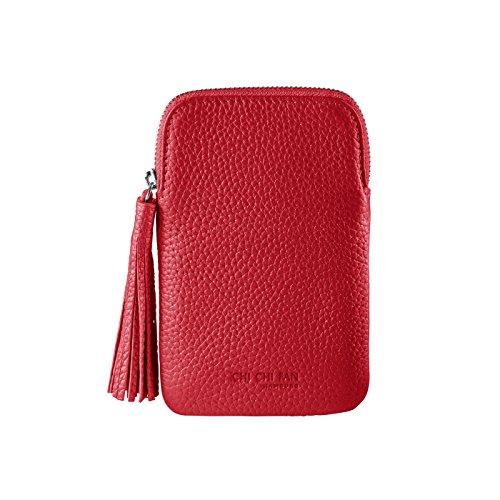 CHI CHI FAN Mobile Bag - Rot | Smartphone Hülle aus echtem Leder | Top Qualität und Design treffen auf maximale Funktion und Sicherheit für ihr Handy | Schutz vor Schmutz und Schäden