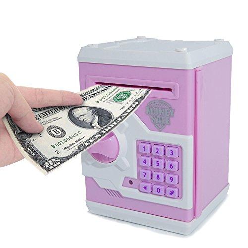 Elektronische Spardose von Apuppy, Cartoon-Passwort Sparschwein, Spielzeug, Geschenk zum Geburtstag Geschenke für Kinder weiß / pink