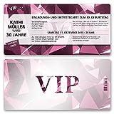(20 x) Einladungskarten Geburtstag VIP Party Edel Pink Lila Ticket Einladungen