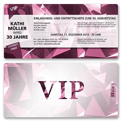 (30 x) Einladungskarten Geburtstag VIP Party Edel Pink Lila Ticket Einladungen