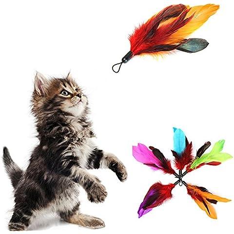 Yongse 5pcs Pet Cat Feather Teaser ricariche per Da Uccello bacchetta Teaser - Da Uccello Refill