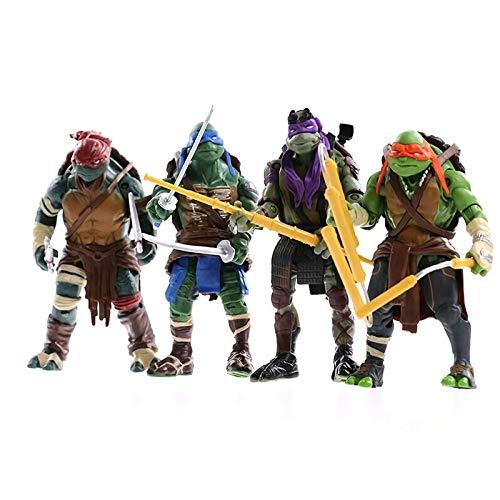 TMNT Teenage Mutant Ninja Turtle Bewegliche Puppen Kinderspielzeug Geeignet Für Autos Schreibtische Wohnzimmer Dekoration 15 Cm (4 Stil),Green-15cm