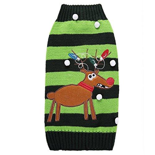 ckwaren Warme Strickjacke Rollkragen aus weicher Baumwolle in Grün mit Weihnachtselch-und-Streifen-Muster Dog Clothes Sweaster für Haustier alle Große der Hunde und Katzen 2XS/XS/S/M/L/XL/2XL (Halloween Rollkragen)