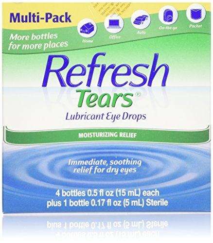 2.17 fl oz. Refresh Tears Lubricant Eye Drops, Moisture Drops for Dry Eyes. 4- .5 fl oz. bottles and 1- .17 fl oz bottle by Refresh Tears