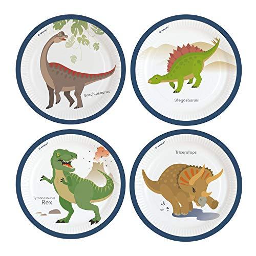 amscan 9903969 Happy Dinosaurier - Platos de Papel (8 Unidades)