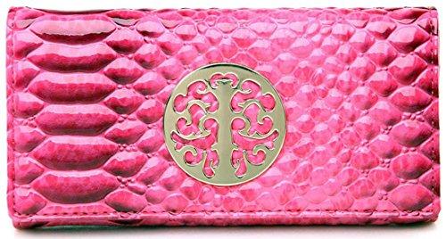 UKFS Designer Donne Ragazze Phobeo Coccodrillo Bi-Piega Vernice Borsa/Pochette/Portafoglio Fuschia