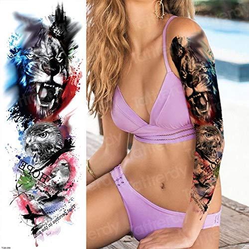 4 pezzi, tatuaggio finto teschio adesivi di bellezza bikini maniche tatuaggio tatuaggi braccio manica lunga tatuaggio grande nero adesivo tatoo temporaneo dio, tqb89