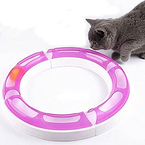 New Cat Track Toy, Kitty Cat Ball Track Chaser Senses Playset Circuit Teaser Scratch Toy, Adjustable Shape, Multiple Layout Possibilities, Purple&White