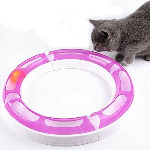 New Cat track Spielzeug, Kitty Cat Ball Track Chaser Sinne Spielset Circuit Teaser Kratz Spielzeug, verstellbar Form, mehrere Layout Möglichkeiten, lila und weiß (Zimmer Ball Essentials)