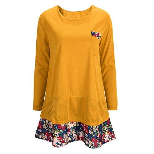 Petalum Damen Sweatshirt Kleid Herbst Langarm Rundhals Sunset Pocket Blumen Rock Hoodie Langarmshirt Tunika Jumper Kleid Oversize Lässig Basic Causal Pulloverkleid
