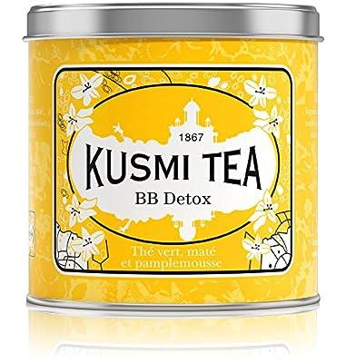 Kusmi Tea - Thé Bien-Être BB Detox - Mélange de Thé Vert, Maté et de Plantes, Aromatisé Pamplemousse - Mélange Conditionné en France - Idéal en Glacé - Boîte Métal 250G - Environ 100 tasses
