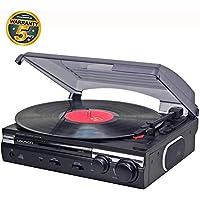 Lauson Tocadiscos de Vinilo USB | Giradiscos Estéreo | 2 velocidades (33/45 RPM) | Reproductor de Vinilos | Altavoces Integrados | Función Encoding | Vinilo a MP3 | CL145 (Negro)