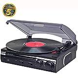 Lauson CL145 Giradischi Vintage | USB | Conversione da Vinile a MP3 | Stereo 2 Velocità (33/45 RPM) Lettore Dischi Retró | Altoparlanti Integrati | Connettore RCA | Record Player (Nero)