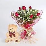 Ramo 6 rosas rojas con osito-FLORES FRESCAS-Entrega en 24 horas