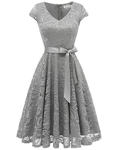 Berylove Damen V-Ausschnitt Kurz Brautjungfer Kleid Cocktail Party Floral Kleid BLP7006GreyM