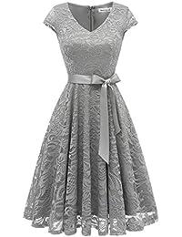 Berylove Damen V-Ausschnitt Kurz Brautjungfer Kleid Cocktail Party Floral Kleid BLP7006GreyM
