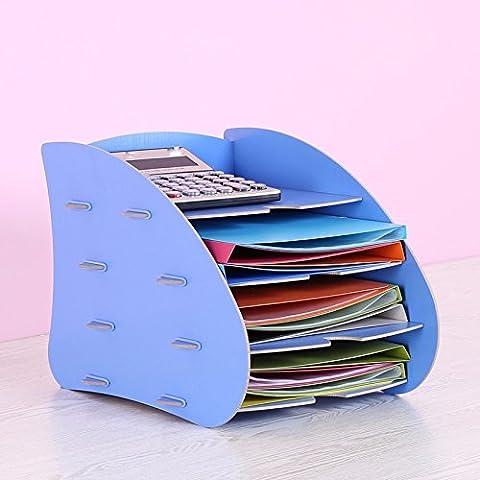 Mesh letteratura parete Titolare Titolare di File Antigraffio in Front-Load Desk lettera i vassoi di deposito,Legno Rack di stoccaggio 30x38x28cm File Information Desk riviste, blu