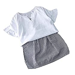 Girls T-shirts+Skirts Clothing Set, Transer® 2PCS Toddler Tshirts 1-6 Years Kids Baby Girls Summer T-shirt Tops+Plaid Skirt Infants Shirt & Short Dress Outfit Clothes Set