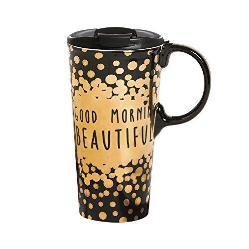 Cypress Home Good Morning Beautiful Ceramic Travel Coffee Mug, 17 ounces by Cypress 17 Oz Mug