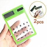 Lezed (2pieces) Solar calcolatrice con funzione touch, Ultra Sottile, trasparente ,8 cifre Hand Held Calculator (verde e giallo)
