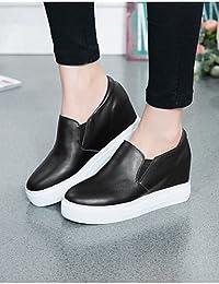 ZQ Zapatos de mujer - Tacón Plano - Comfort / Punta Redonda - Sin Cordones - Exterior / Casual - Semicuero - Negro / Blanco , black-us8 / eu39 / uk6 / cn39 , black-us8 / eu39 / uk6 / cn39