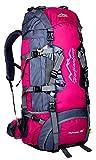 Hwjianfeng Herren Damen Backpacker,Wasserdichte Wanderrucksäcke Trekkingrucksäcke 7 Farben Optional,80x38x25 cm,80 Liter(Rose)