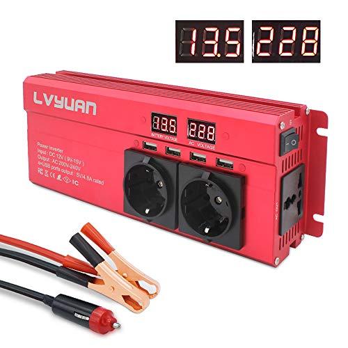 Spannungswandler 12V 230V 1000W / 2000W Wechselrichter mit 3 Steckdose und 4 USB LED Spannungsanzeige