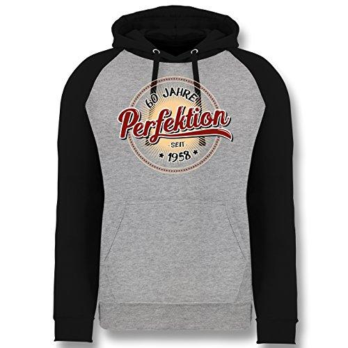 Shirtracer Geburtstag - 60 Jahre Perfektion seit 1958 - XL - Grau meliert/Schwarz - JH009 - Baseball Hoodie