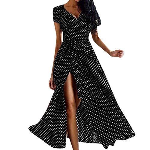 �ufige Sommer-Punkt Gedruckte Kurze Strand Kleid Sommerkleid Damen 50er Jahre Audrey Hepburn Vintage Kleid Rockabilly Cocktail Partykleid Polka Dot(Schwarz,S) ()