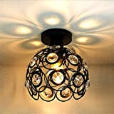 Industriel Plafonnier Abat-jour Cristal en Métal, Moderne Luminaire Décoration Lampe de plafond,Douille E27,Noir