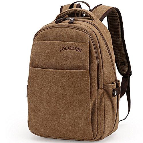 Waschen klassische Leinwand mit Leder-Laptop-Tasche c
