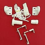 Easy-Shadow - 2 Sets / Zubehör-Set für Klemmfix-Rollos / Duo-Rollos / Rollo / Verdunkelungsrollo / Easyfix - Klemmhalter / Kettenzug / Halterung für Fensterrahmen Rahmenstärke 15 mm - 22 mm Montage ohne Bohren oder Kleben - weiß