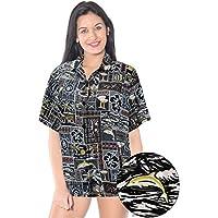 La Leela tropicale stampato likre nero nuotata spiaggia camicia hawaiana